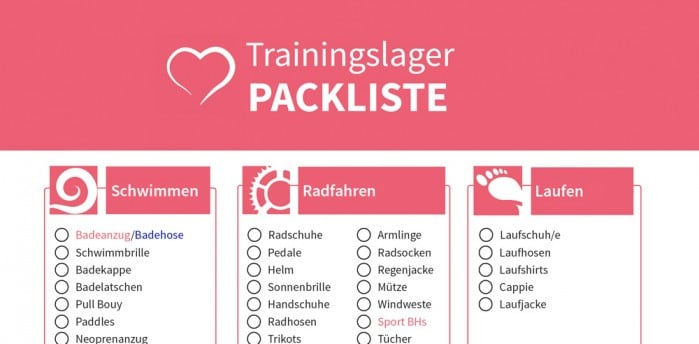 Triathlon Trainingslager Packliste